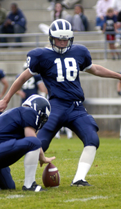 Steven Hauschka (#18) kicking for his alma mater Middlebury College