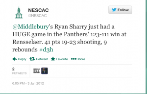 NESCAC's twitter account acknowledging Sharry's monster performance vs. RPI