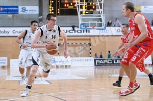 Sharry (#14( competing for T71 in an elite professional basketball league in Luxembourg