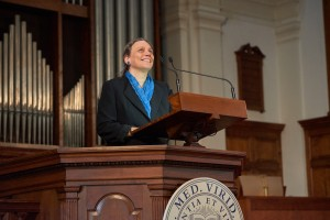 President-elect Laurie L. Patton addressed the College community in Mead Chapel on Nov. 18.