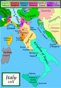 A Map of Italy in 1494. (Note Siena and Florence's proximity)