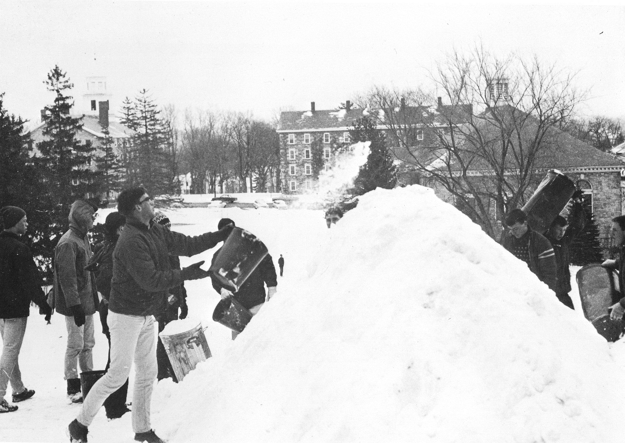 Making a snow pile, 1964