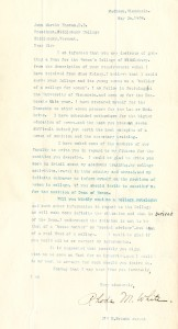 Introductory letter from Rhoda Mabel White to President Thomas (May, 1909)