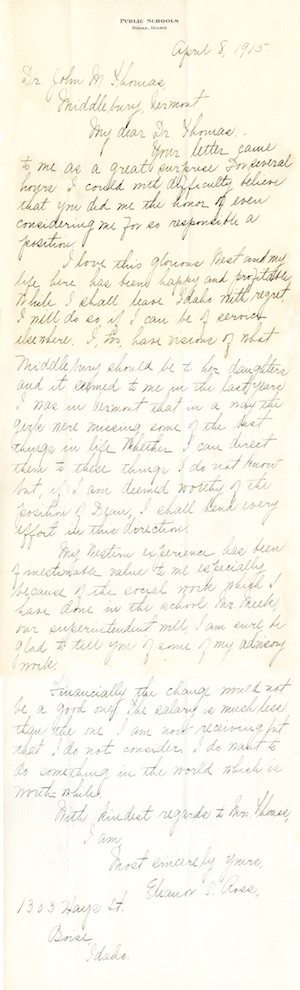 Letter from Eleanor Sybil Ross to President Thomas