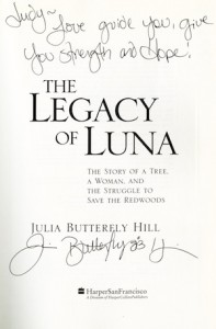 Title page, Julia Butterfly Hill's The Legacy of Luna, 2000