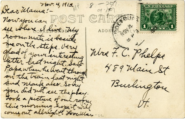 Postcard from Marjorie Phelps, class of 1917, to her mother. As she mentions, she and her roommate are pictured on the reverse.