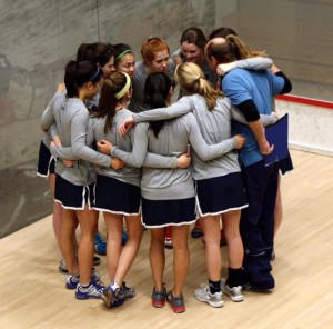 The 2013 Team in a huddle before starting a match at Nationals, held at Yale that season.