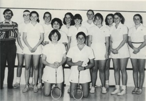 Women's Varsity Squash team from the 1982 Kaleidescope (page 89). Co-Captains Anne Geary and Laura Thomas lead the team to a 15th place finish at the Howe Cup at the end of the season.