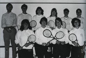 Coach Ron McEachen and the team in 1985. Taken from the Middlebury Kaleidoscope (1985, page 172).