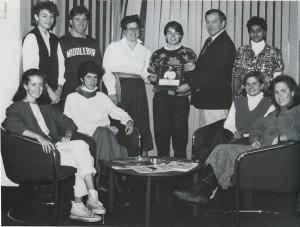 1986 team with the Clarence E. Chaffee plaque, which was awarded at the National competition that year. (1986 Kaleidescope, page 74-75)