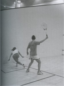 Two players at practice in the Bubble from the 2003 Kaleidoscope, page 131.