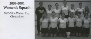 The 2003-2004 Women's squash team with coach David Saward. (Kaleidoscope 2004, page 140)