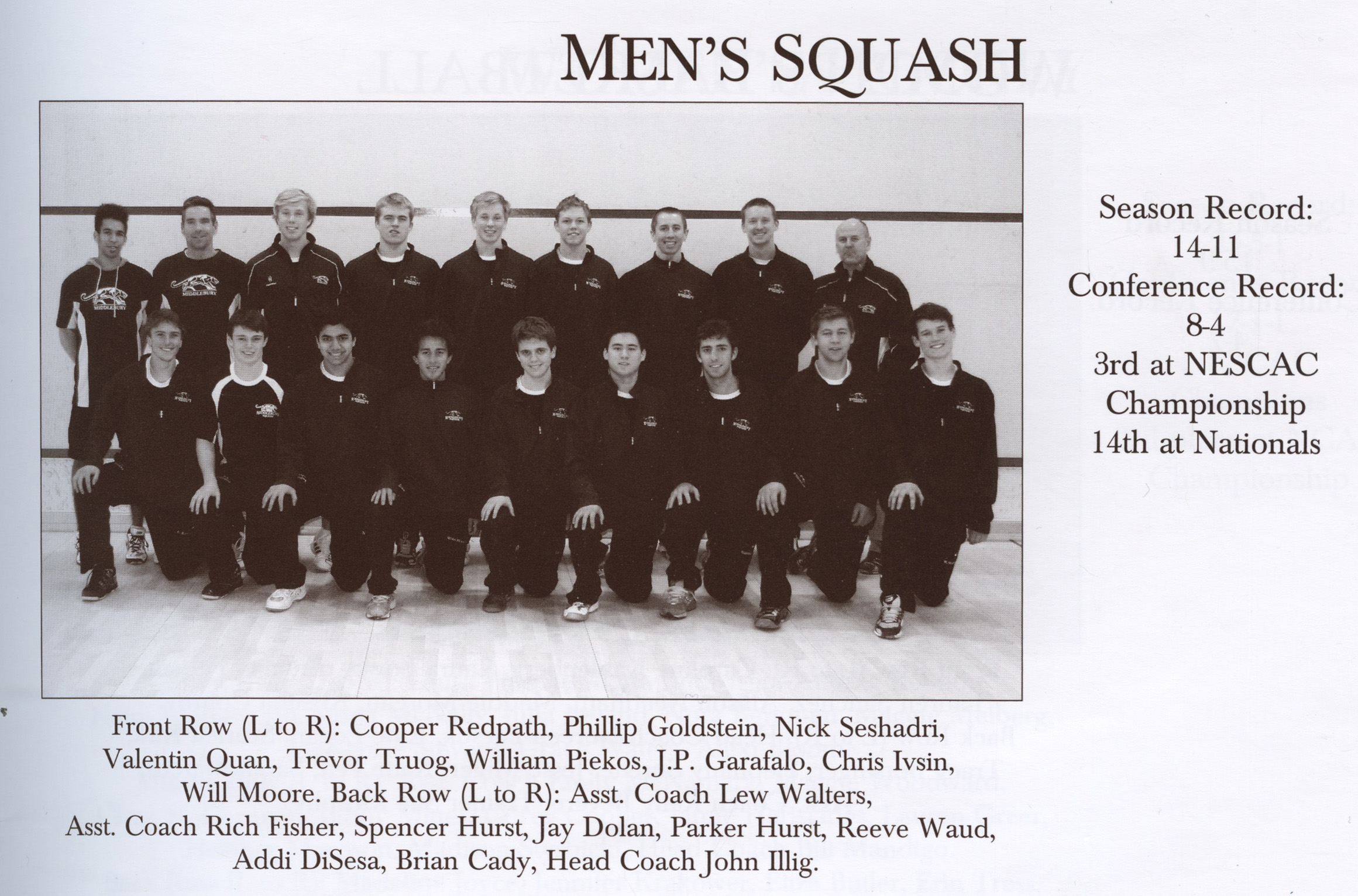 2011 Men's Squash Team, photograph from the Kaleidoscope
