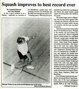 An article and photograph from the Middlebury Campus published on February 20th, 1992 (page 9).