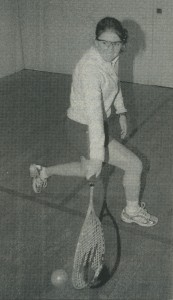 """Ellie Toan '02 drives a crosscourt boast just above the tin during women's squash practice Tuesday afternoon."" (Middlebury Campus, November 14, 2001, page 30)"