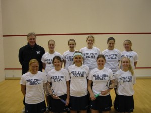 The women's team with coach David Saward.