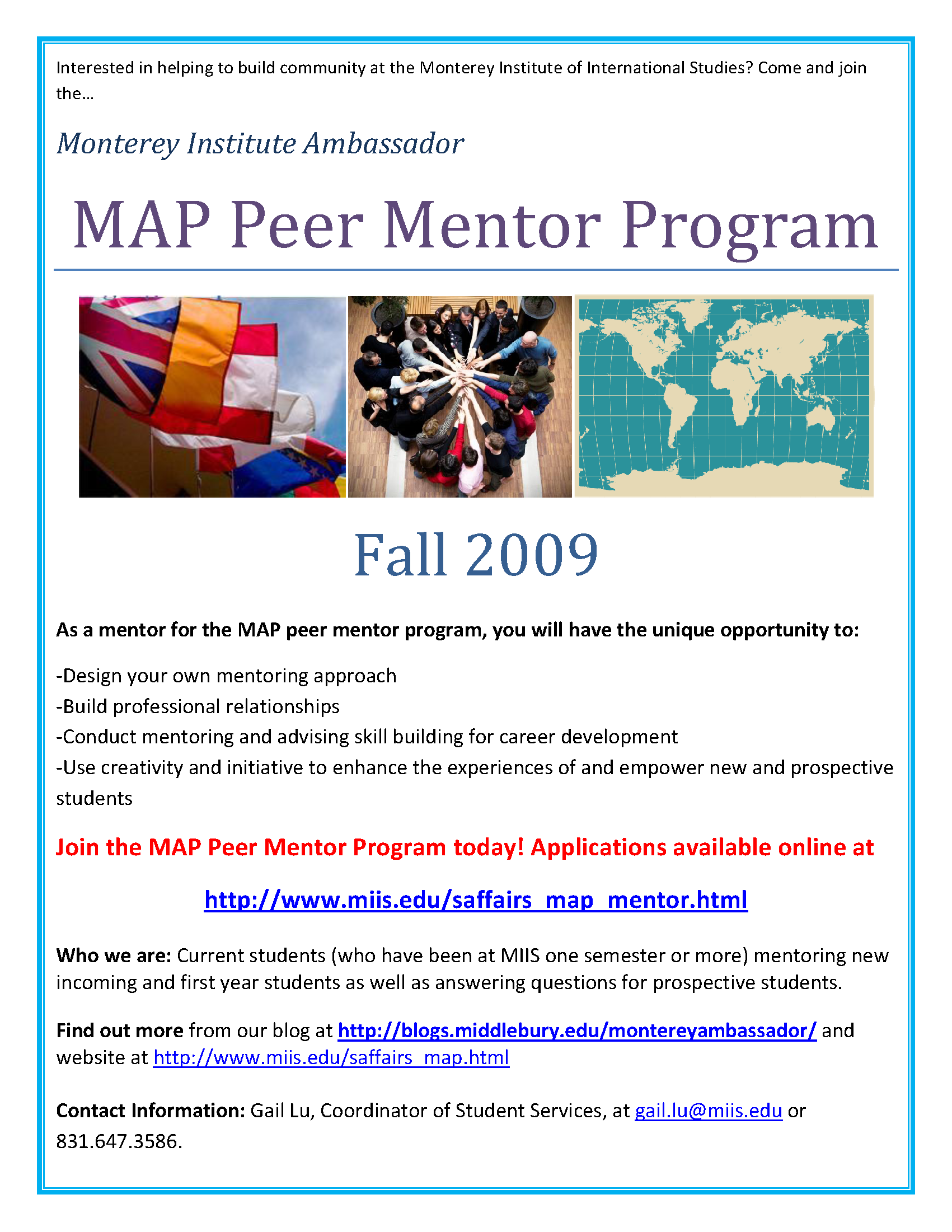 monterey institute map peer mentor program