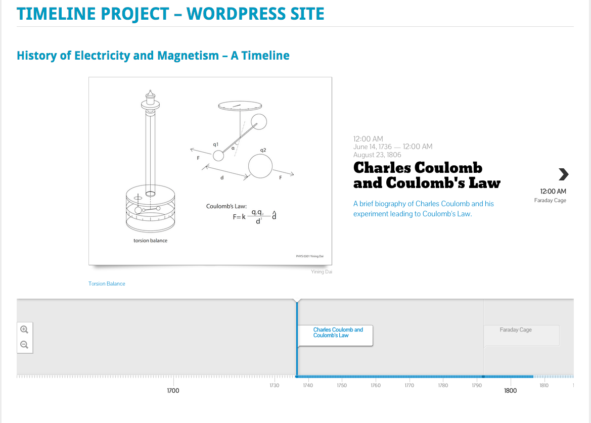 Front page of interactive timeline WordPress site.