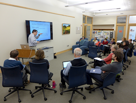 Glen Ernstrom, Assistant Professor of Biology and Neuroscience, leading a workshop on POGIL (Process Oriented Guided Inquiry Learning)
