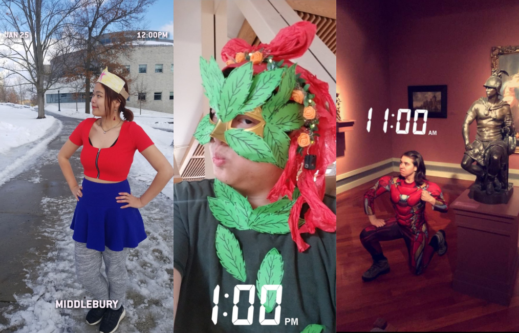 3 students cosplaying as superheroes, Wonderwoman outside the library, poison ivy in proctor dining hall, and Iron man in the museum
