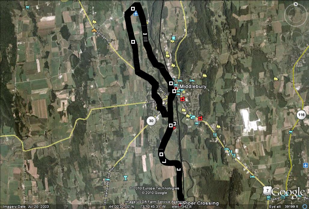 Google Earth of Race Route