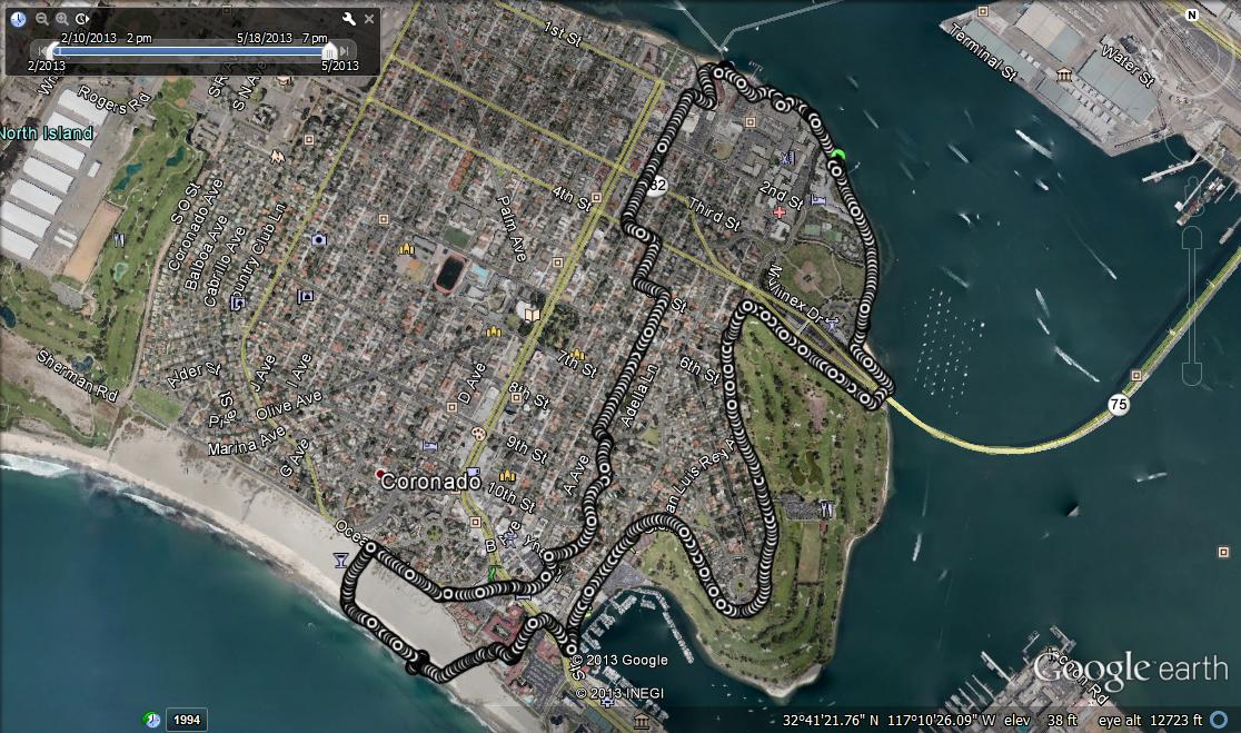 Google Earth of Coronado Island run