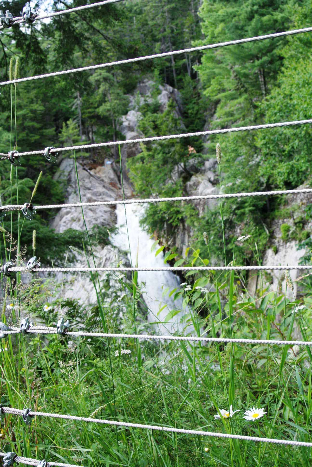 Falls of Lana behind safety fencing