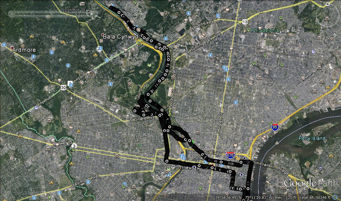 Philadelphia marathon route on Google Earth
