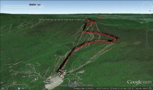 Google Earth of the Run up Mt Ellen