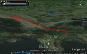 Google Earth projection of the Rattlesnake Cliff run